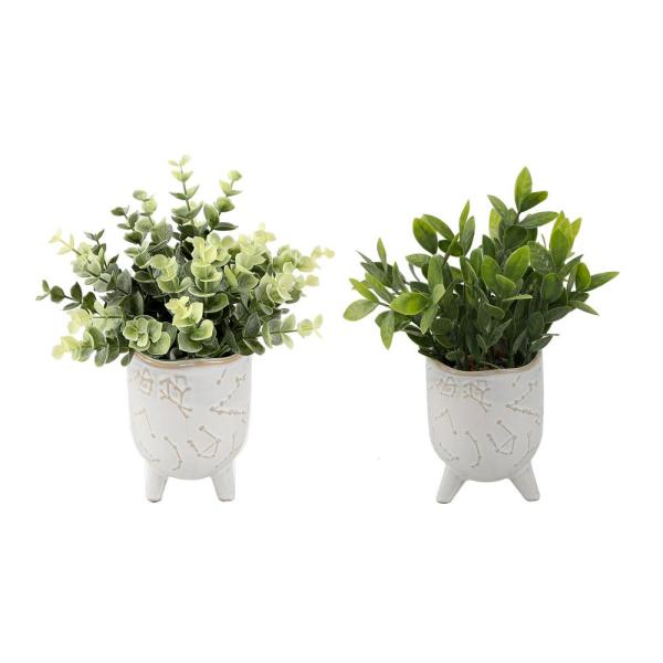 8 in. H Faux Eucalyptus and Tea Leaf in 3 in. Ivory Constellation Footed Ceramic Planter,Set of 2