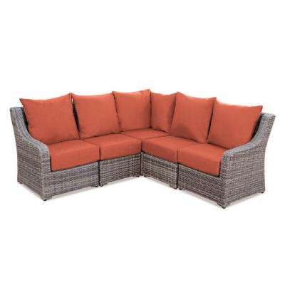 Cherry Hill 5-Piece Patio Seating Set with Canvas-Brick Cushions