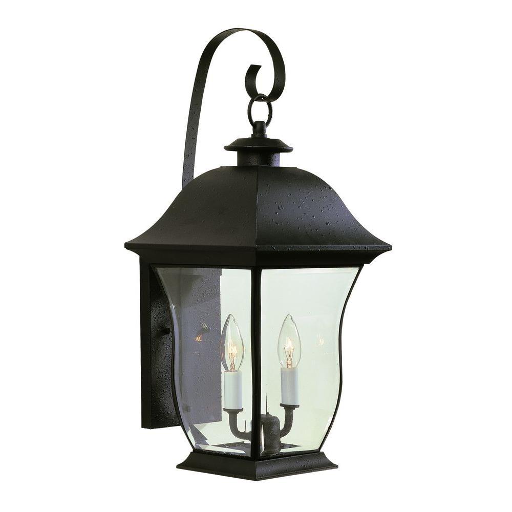 Stewart 2-Light Outdoor Black Incandescent Wall Light