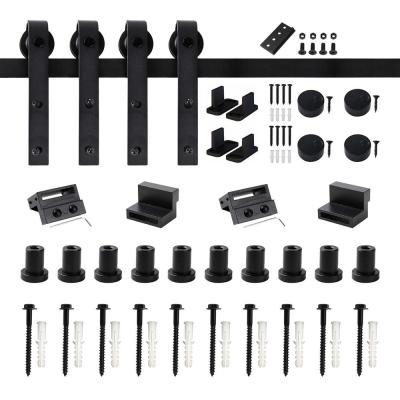 12 ft./144 in. Frosted Black Sliding Barn Door Hardware Track Kit for Double Doors with Non-Routed Floor Guide