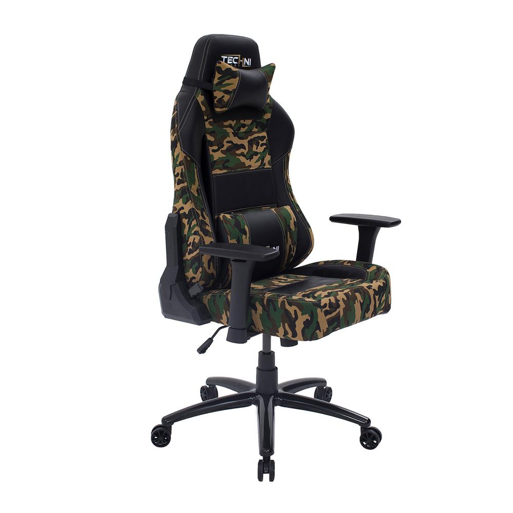 Techni Sport Ergonomic Green High Back Racer Style Video Gaming Chair