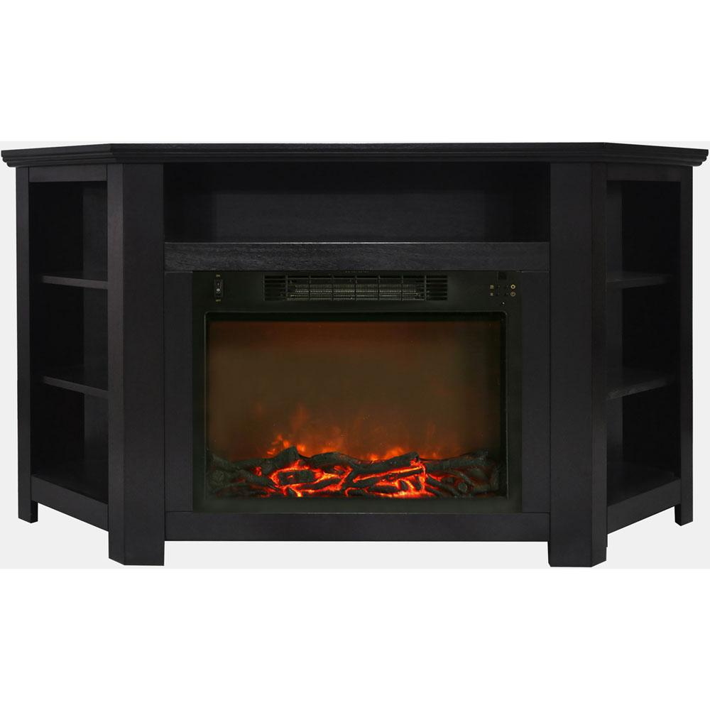 Stratford 56 in. Electric Corner Fireplace in Black Coffee with 1500-Watt