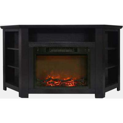 Stratford 56 in. Electric Corner Fireplace in Black Coffee with 1500-Watt Fireplace Insert