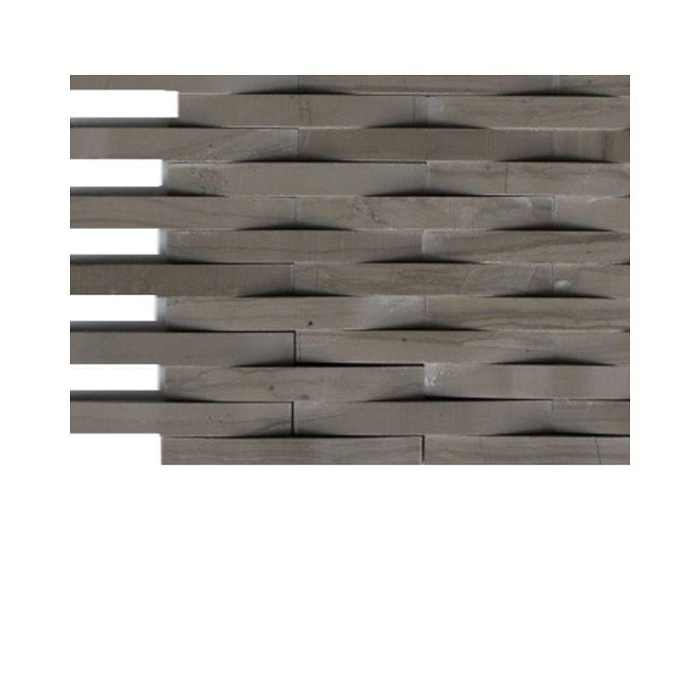 3D Reflex Crema Marfil Stone Glass Tile - 3 in. x