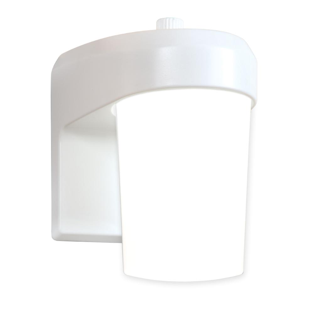 White Outdoor Integrated LED Entry and Patio Area Light with Dusk