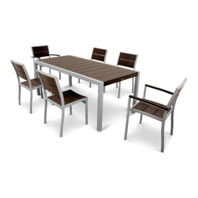 Surf City Textured Silver 7-Piece Plastic Outdoor Patio Dining Set with Vintage Lantern Slats