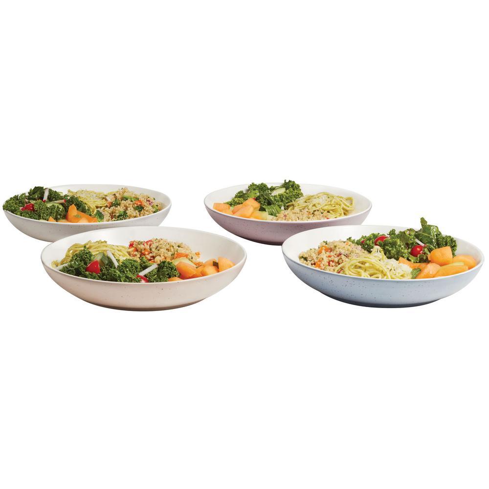Libbey Urban Story 10 in. 4-Piece MultiColor Ceramic Entree Bowl Set