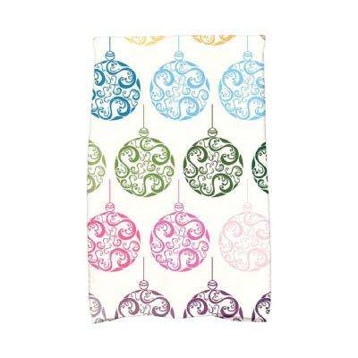 16 in. x 25 in. Teal Painterly Bulbs Holiday Geometric Print Kitchen Towel