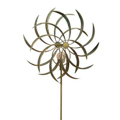 63 in. Solar Lighted Metal Flower Spinner
