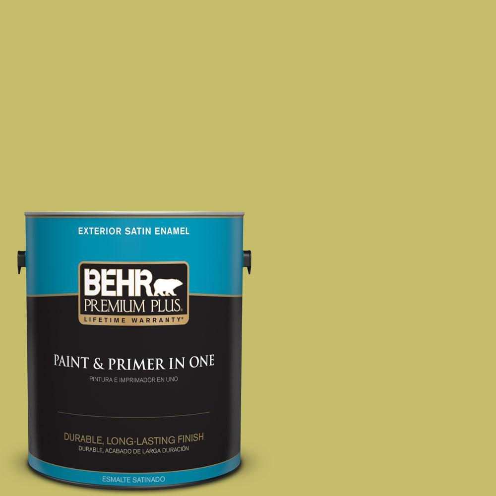 BEHR Premium Plus 1-gal. #P350-5 Go Go Lime Satin Enamel Exterior Paint