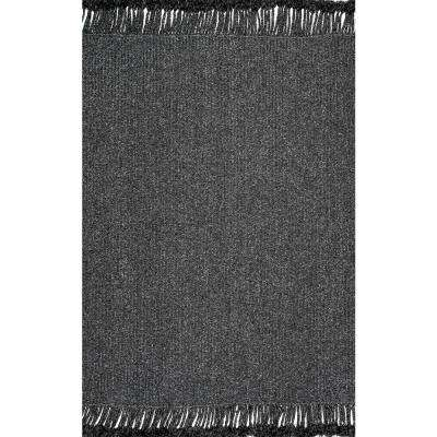 Braided Courtney Tassel Indoor/Outdoor Charcoal 5 ft. x 8 ft. Area Rug