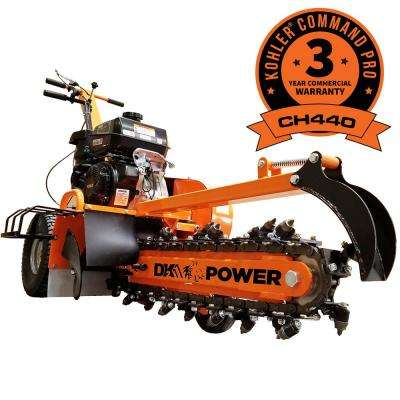 24 in. 14 HP Gas Powered Kohler Engine Certified Commercial Trencher with 5-Position Depth Adjustment