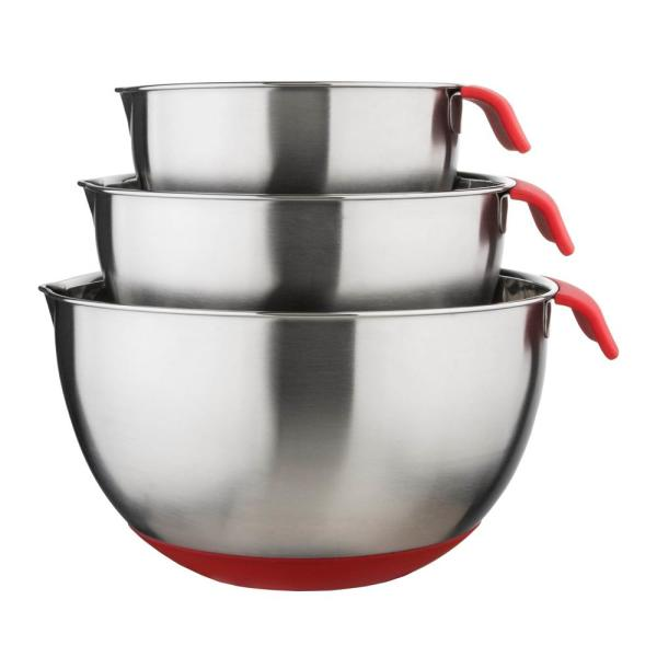CULINARY EDGE 3-Piece Stainless Steel Mixing Bowl Set 03823