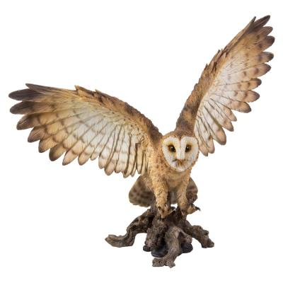 Barn Owl on Stump with Wings Open Statue