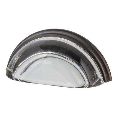 3 in. Cup Crystal Clear on Center in Timeless Bronze Drawer Pull