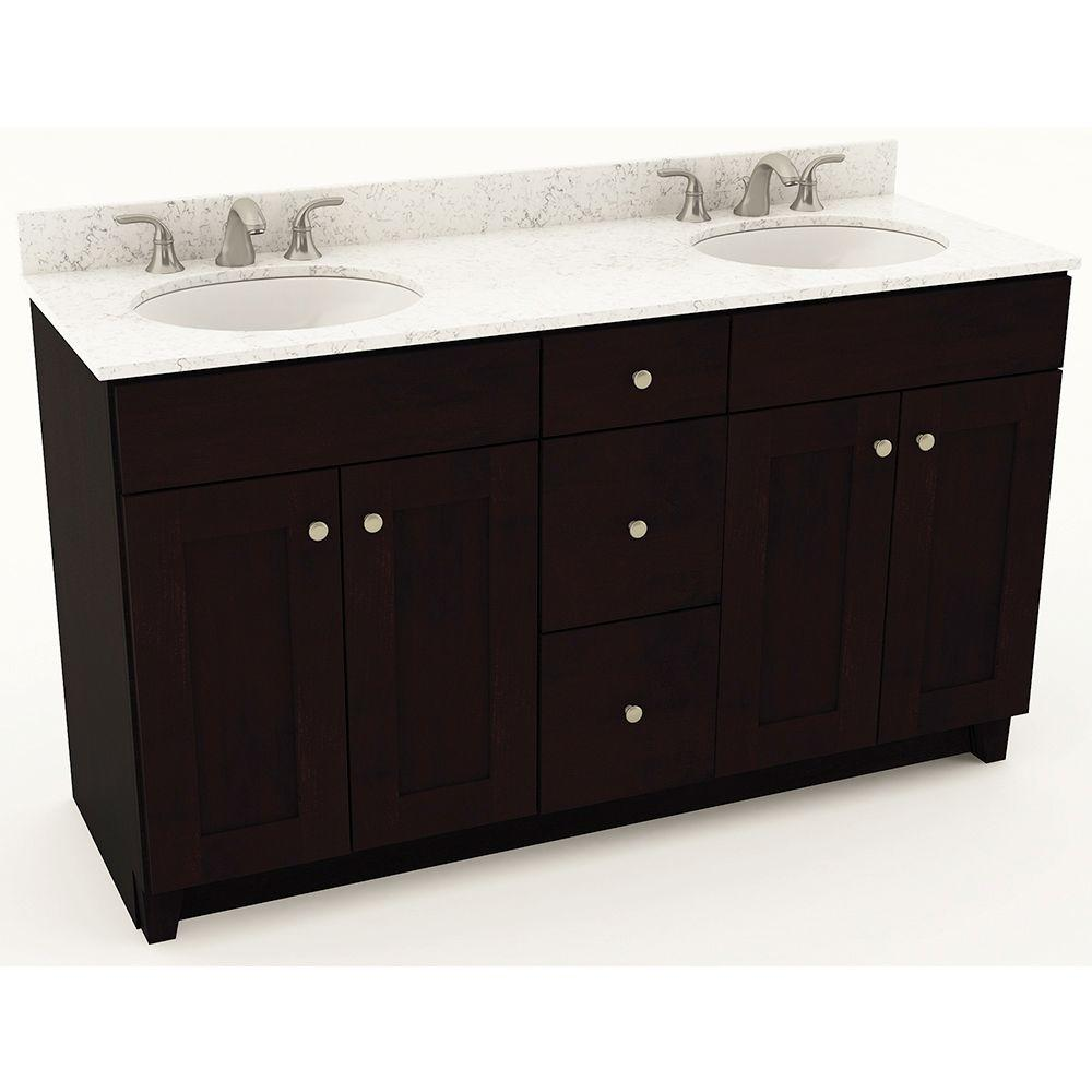 American Woodmark 61 in. W x 20-3/4 in. D Bath Vanity in Espresso with Quartz Vanity Top in White Arabesque with White Double Basins