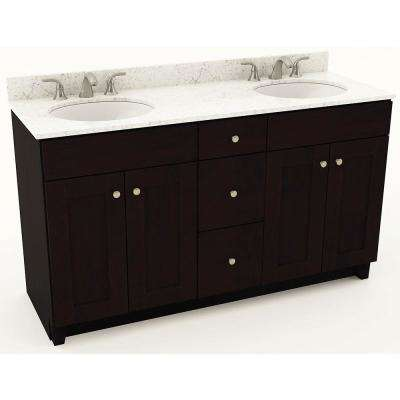 61 in. W x 20-3/4 in. D Bath Vanity in Espresso with Quartz Vanity Top in White Arabesque with White Double Basins