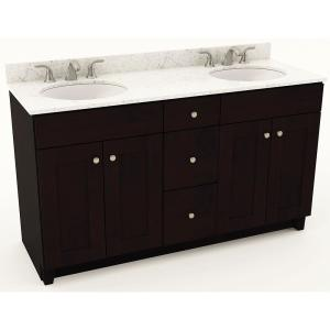 American Woodmark 61 inch W x 20-3/4 inch D Bath Vanity in Espresso with Quartz Vanity Top in White Arabesque with White... by American Woodmark