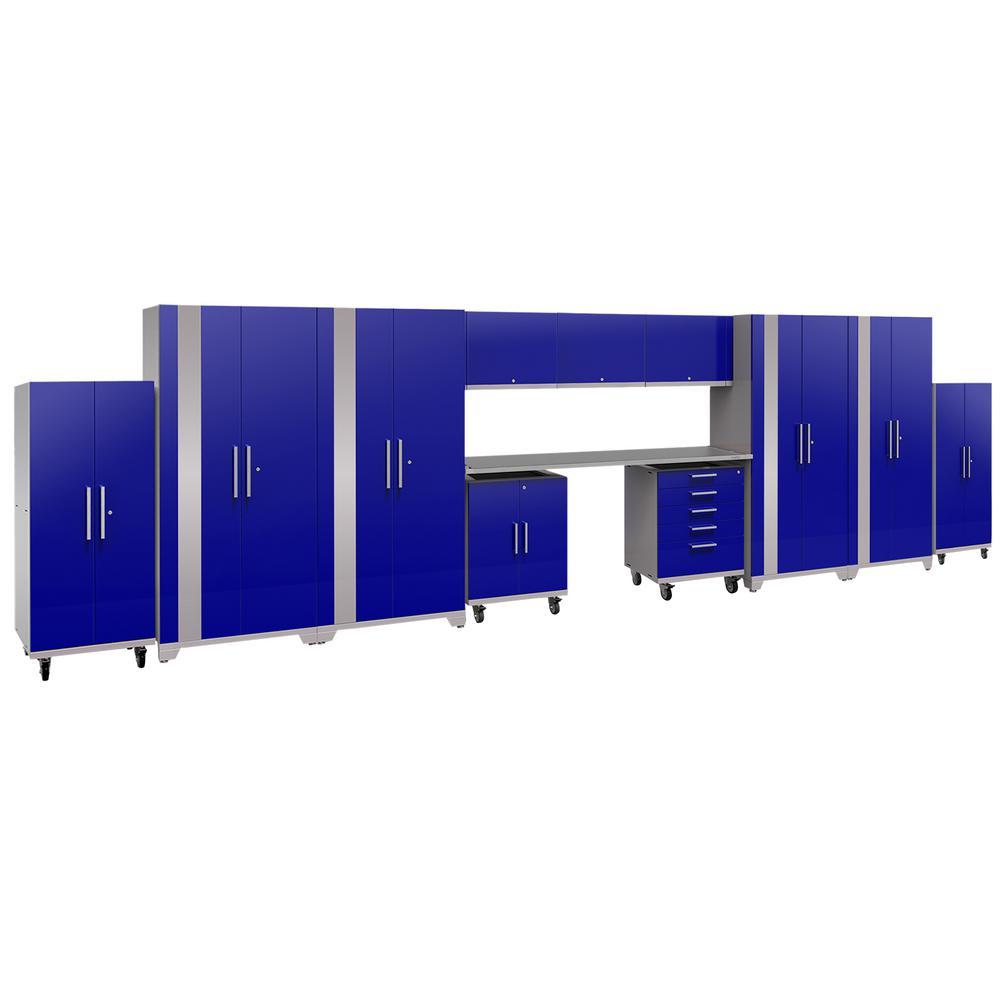 Performance Plus 2.0 80 in. H x 289 in. W x 24 in. D Steel Garage Cabinet Set in Blue (14-Piece)