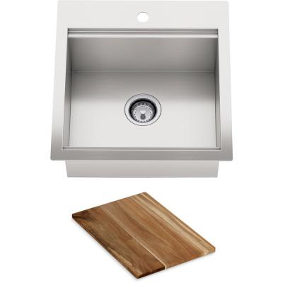 Lyric Dual Mount Workstation Stainless Steel 22 in 1-Hole Single Bowl Kitchen Sink with Integrated Ledge and Accessories