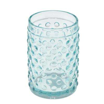 3 in. Dia x 4-1/2 in. H Transparent Blue Dot Glass Tumbler, Toothbrush Holder