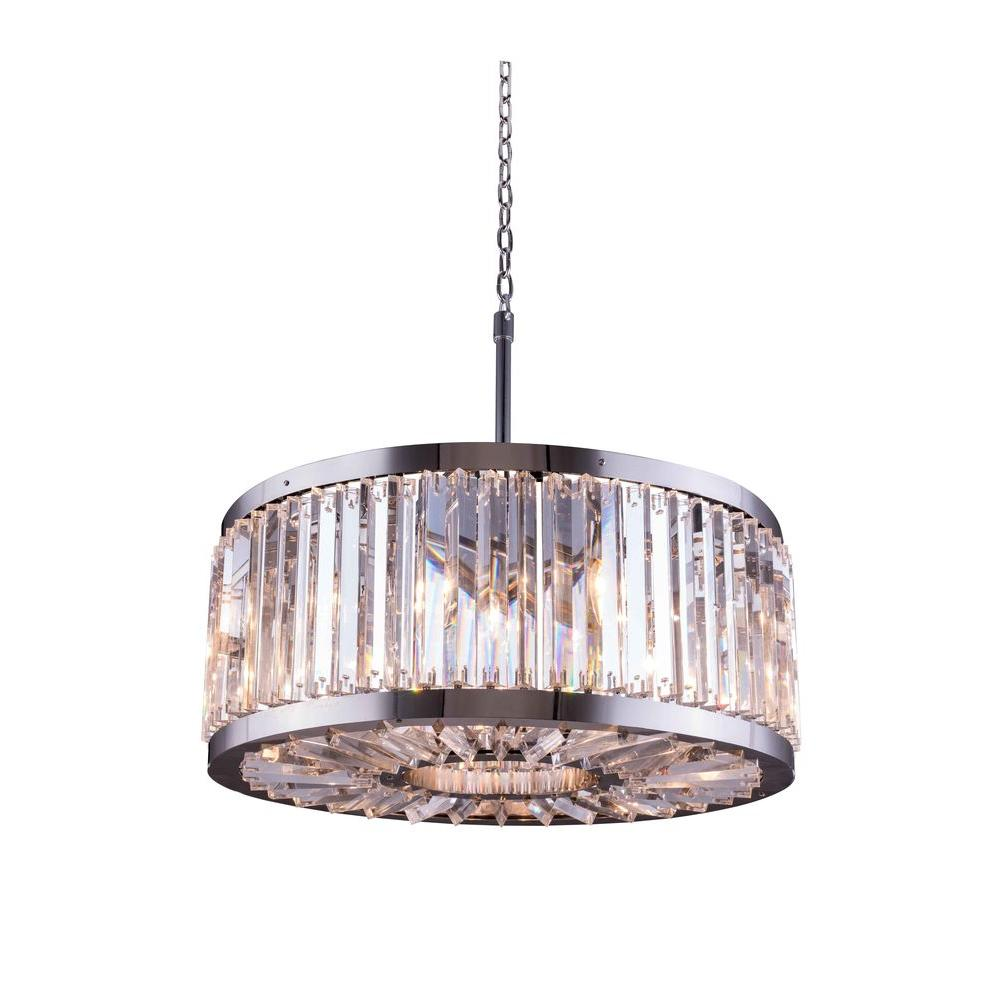 Elegant Lighting Chelsea 8 Light Polished Nickel Chandelier With Clear Crystal