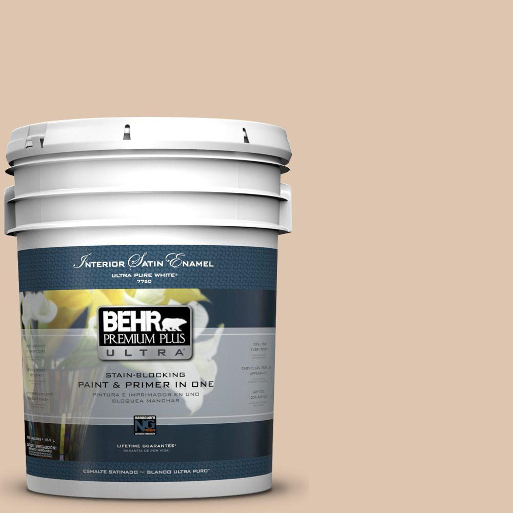 BEHR Premium Plus Ultra 5-gal. #N250-2 Brazilian Tan Satin Enamel Interior Paint