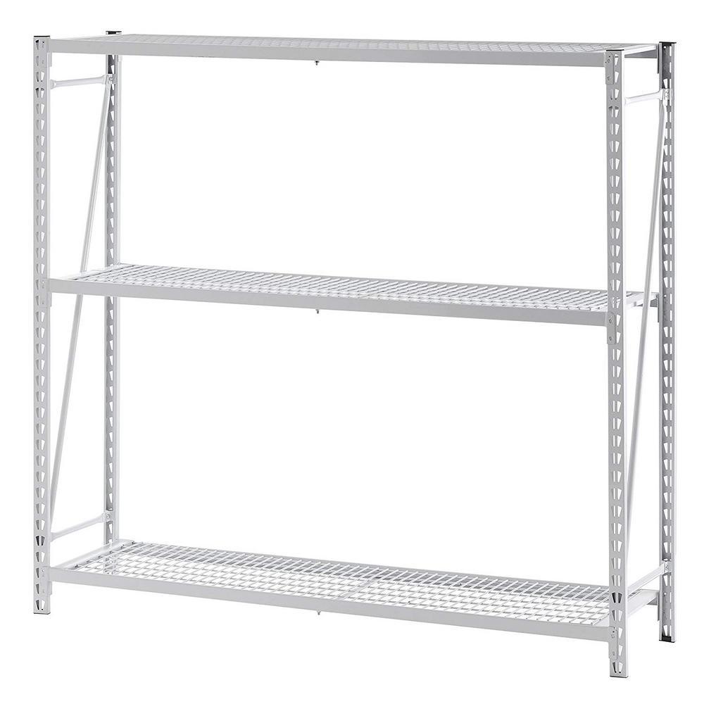 55 in. W x 54 in. H x 14 in. D White Steel 3 Tier Mini Welded Shelving Unit
