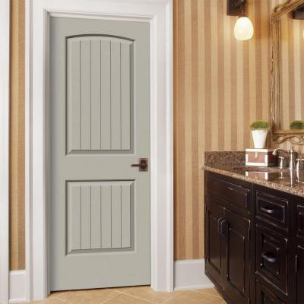 32 in. x 80 in. Santa Fe Desert Sand Painted Left-Hand Smooth Molded Composite MDF Single Prehung Interior Door