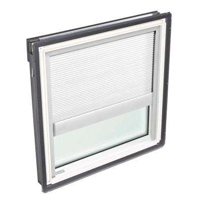 44-1/4 in. x 45-3/4 in. Fixed Deck Mount Skylight with Tempered Low-E3 Glass and White Manual Room Darkening Blind