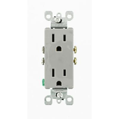 Decora 15 Amp Residential Grade Self Grounding Duplex Outlet, Gray