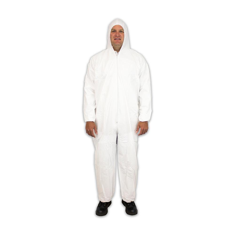 Disposable Unisex Coverall 3X-Large White Polypropylene with Hood (25-Pack)