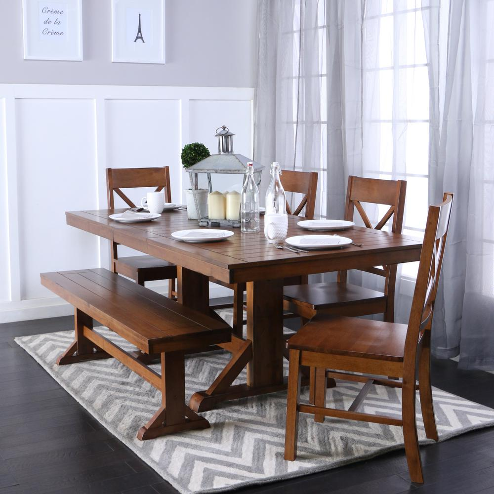 Walker Edison Furniture Company Millwright 6 Piece Antique Brown Dining Set