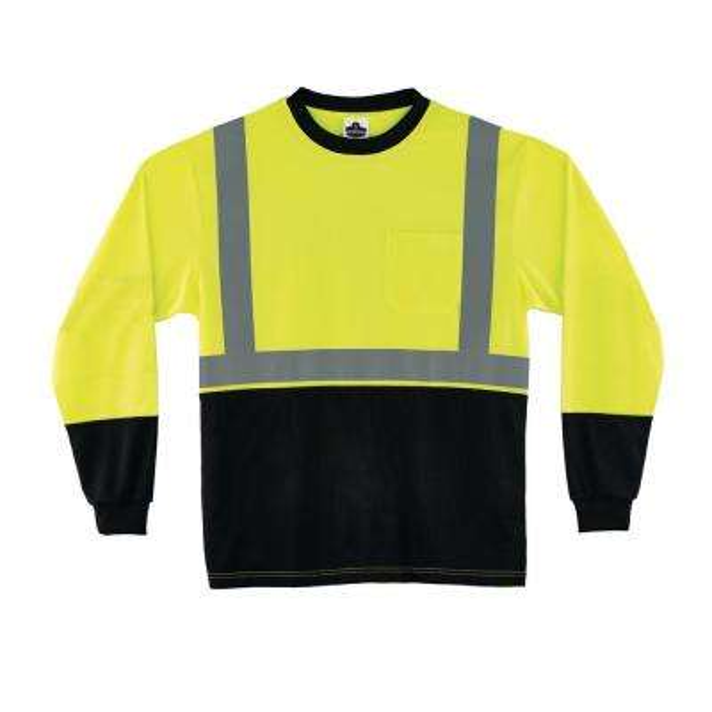 2XL Hi Vis Lime Black Front Long Sleeve T-Shirt