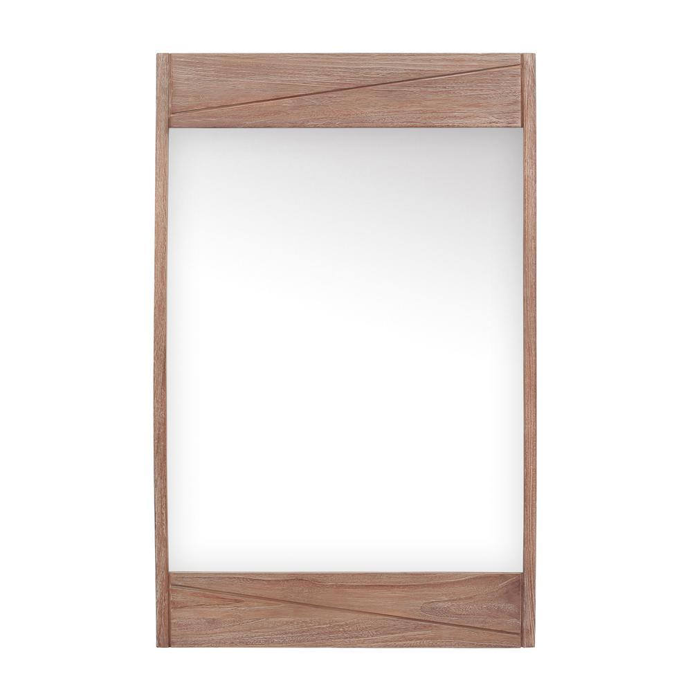 Avanity Teak 24 in. W x 38 in. H Single Framed Wall Mirror in Rustic Teak