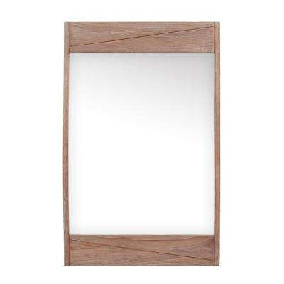 Teak 24 in. W x 38 in. H Single Framed Wall Mirror in Rustic Teak