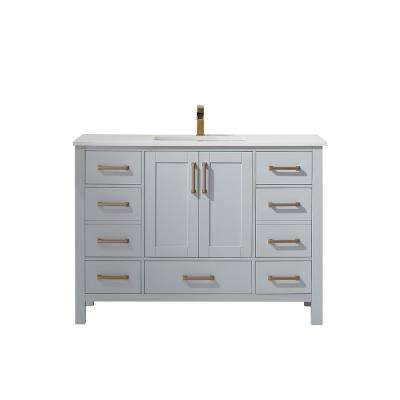 Shannon 48 in. Bath Vanity in Grey with Manufactured Stone Vanity Top in White with White Basin