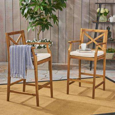 Perla Teak Brown Wood Outdoor Bar Stool with Cream Cushion (2-Pack)
