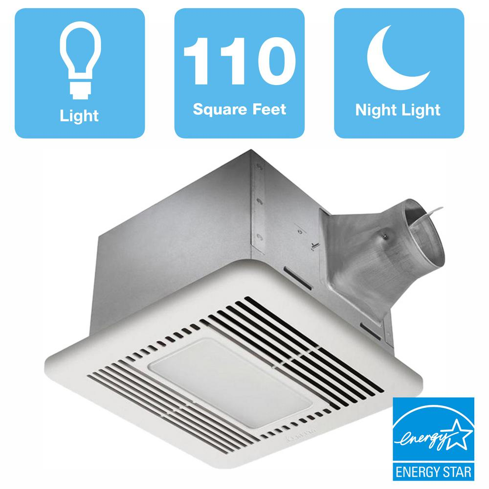 Delta Breez Signature G2 Series 110 CFM Ceiling Bathroom Exhaust Fan with LED Light and Night-Light, ENERGY STAR