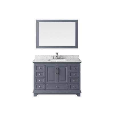 48 in. Vanity in Cashmere Grey with Marble Vanity Top in Carrara White with White Basin and Mirror