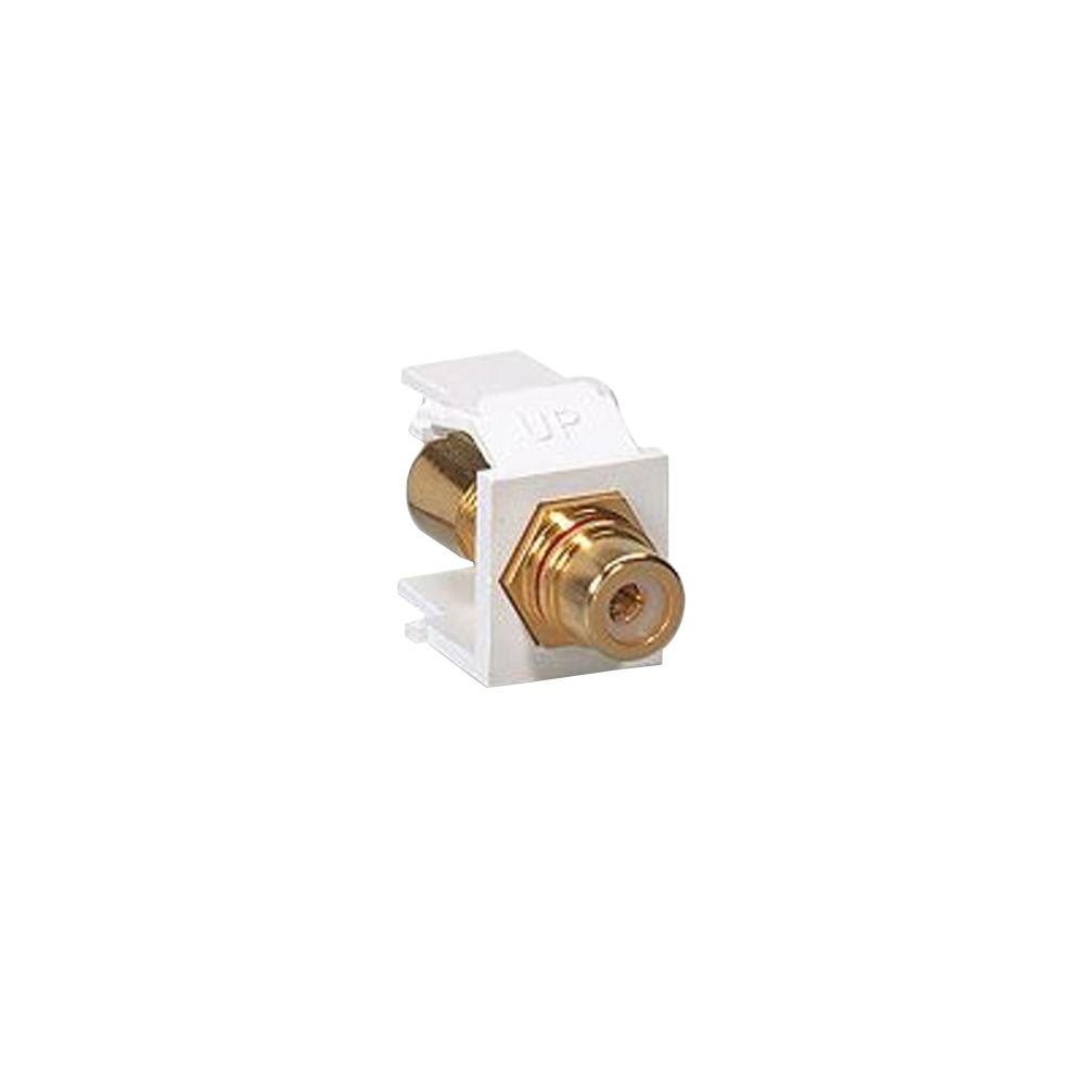 Leviton QuickPort RCA Jack Connector Red Stripe, Ivory
