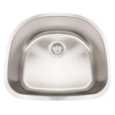 Undermount Stainless Steel 22 in. 0-Hole Single Bowl Kitchen Sink