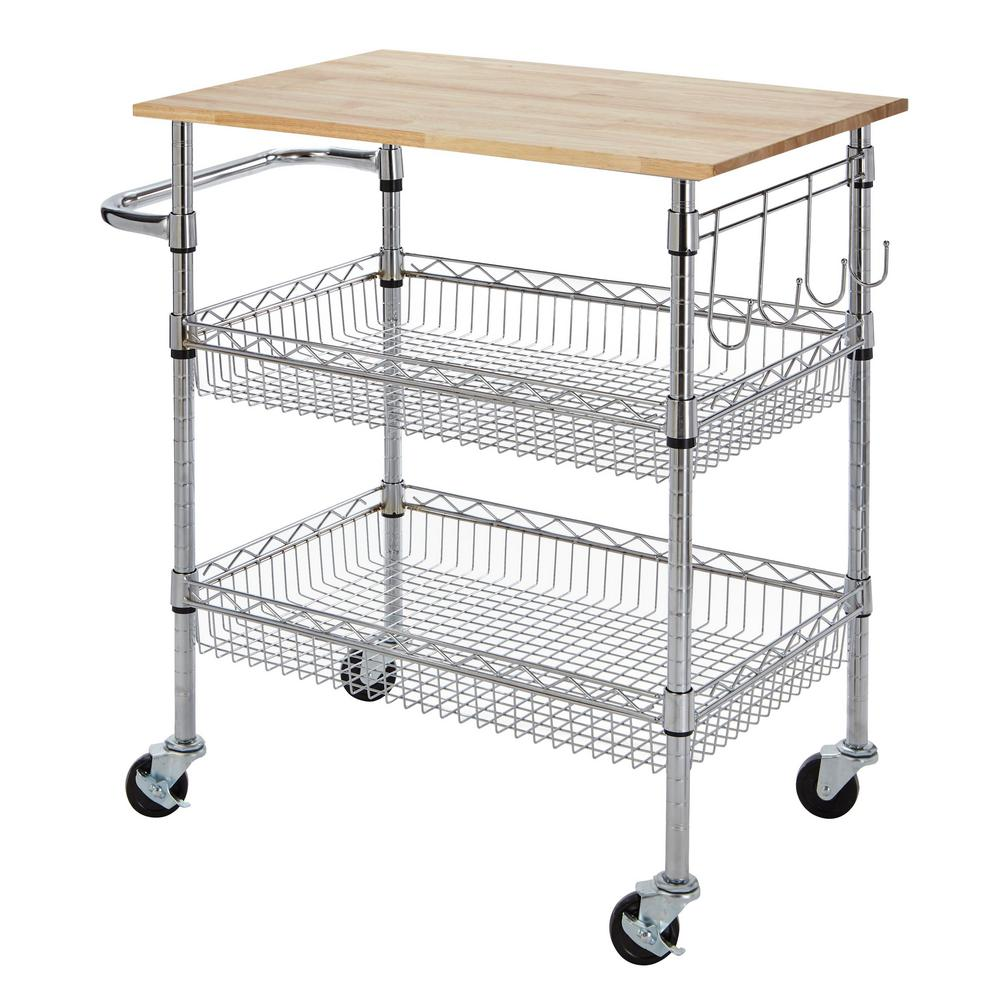 large multi purpose kitchen cart with rubber wood cutting