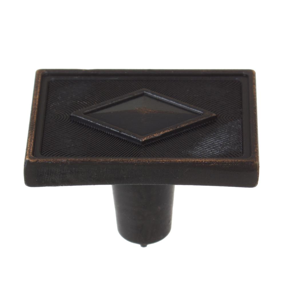 GlideRite 1-3/8 in. Oil Rubbed Bronze Diamond Collection Rectangle Cabinet Knobs (10-Pack)