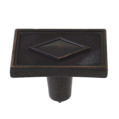 1-3/8 in. Oil Rubbed Bronze Diamond Collection Rectangle Cabinet Knobs (10-Pack)