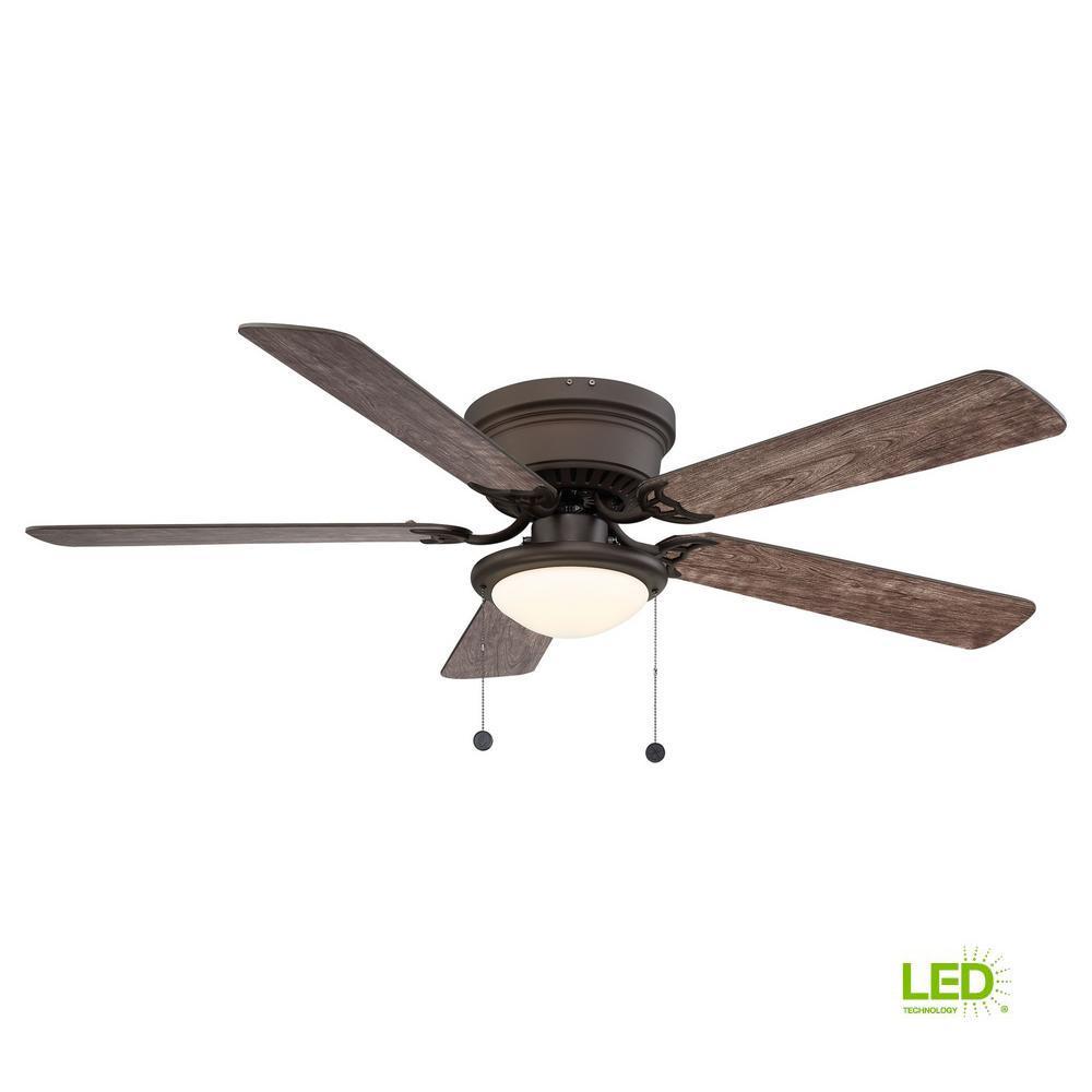 Hugger 52 In Ceiling Fan With Led Light Espresso Bronze Low Ceiling Flush Mount 792145372646 Ebay