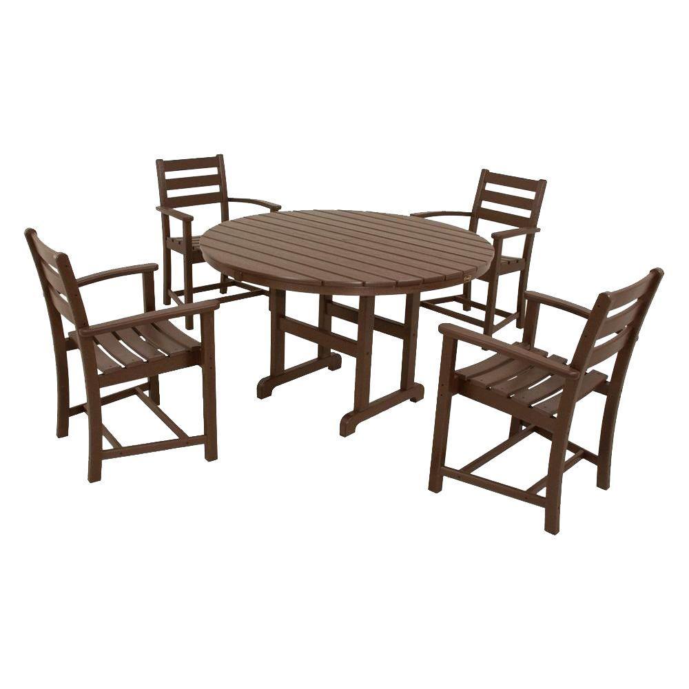 Trex Outdoor Furniture Monterey Bay Vintage Lantern 5 Piece Plastic Outdoor Patio Dining Set