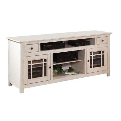 Emerson Hills 74 in. White Wood TV Stand with 2 Drawer Fits TVs Up to 80 in. with Storage Doors