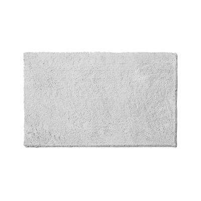 Plush Shag Chenille Light Gray 21 in. x 34 in. Bath Mat
