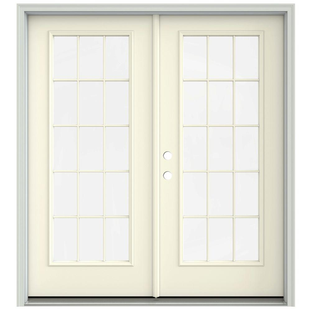 Jeld Wen 72 In X 80 In French Vanilla Prehung Right Hand Inswing 15 Lite French Patio Door